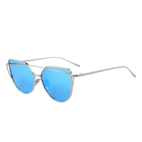 Stylish Twin-Beams Cat Eye Sunglasses Silver Frame Blue Sunglasses