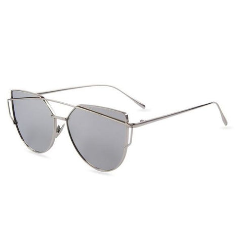 Stylish Twin-Beams Cat Eye Sunglasses Silver Frame Sunglasses