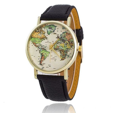Trendy World Map Watch With Leather Strap Black Watch