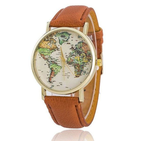 Trendy World Map Watch With Leather Strap Brown Watch