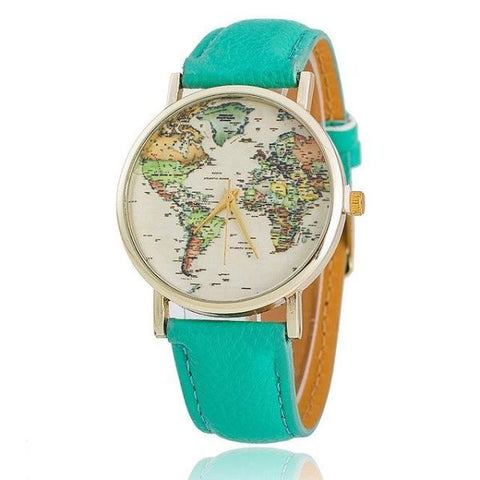 Trendy World Map Watch With Leather Strap Mint Green Watch