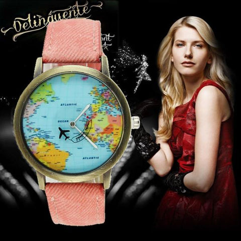 Cool World Map Flight Airplane Watch For Travelers Watch