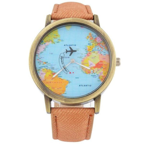 Cool World Map Flight Airplane Watch For Travelers Orange Watch