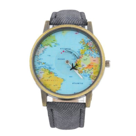 Cool World Map Flight Airplane Watch For Travelers Grey Watch