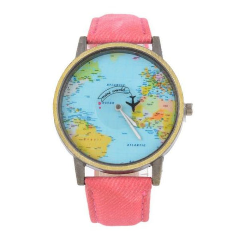 Cool World Map Flight Airplane Watch For Travelers Rose Watch