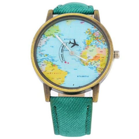 Cool World Map Flight Airplane Watch For Travelers Mint Green Watch