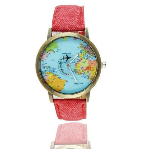 Cool World Map Flight Airplane Watch For Travelers Red Watch