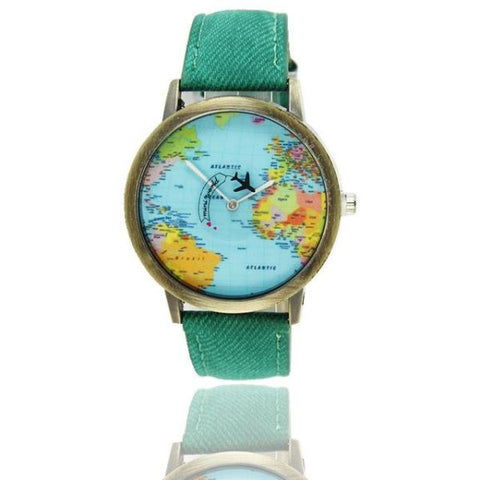 Cool World Map Flight Airplane Watch For Travelers Green Watch