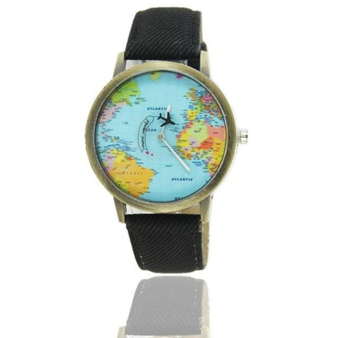 Cool World Map Flight Airplane Watch For Travelers Black Watch