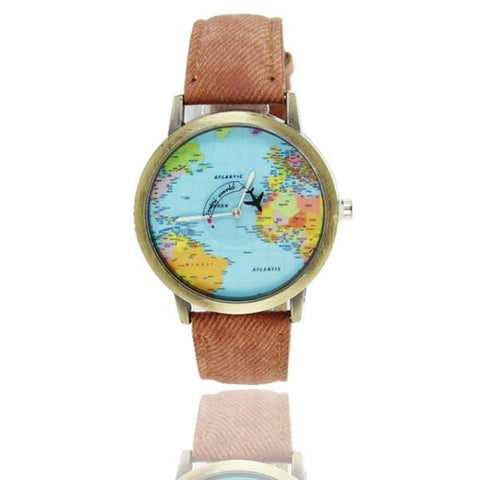 Cool World Map Flight Airplane Watch For Travelers Brown Watch