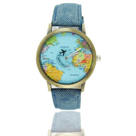 Cool World Map Flight Airplane Watch For Travelers Denim Watch
