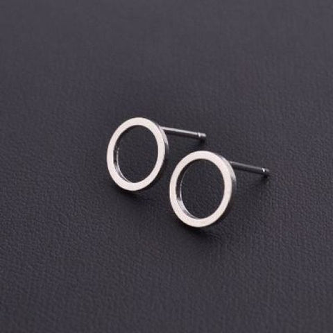 Stylish T Bar Earrings Silver Circle