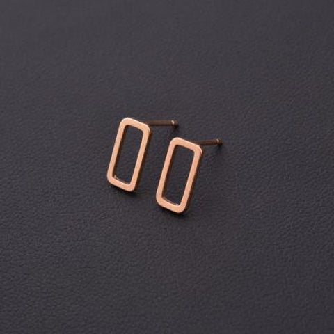 Stylish T Bar Earrings Gold Rectangle
