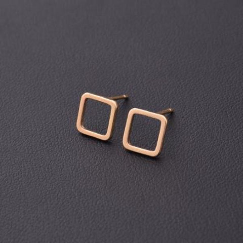 Stylish T Bar Earrings Gold Square