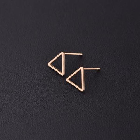 Stylish T Bar Earrings Gold Triangle