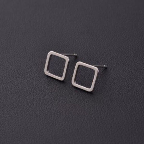 Stylish T Bar Earrings Silver Square