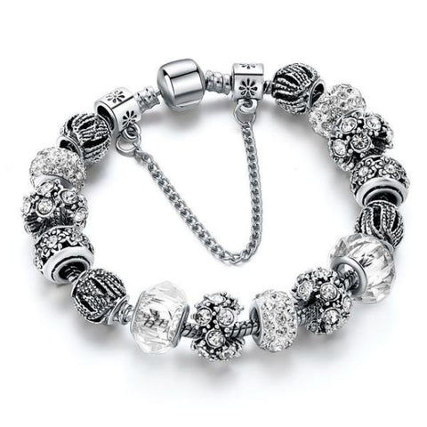 Trendy New Crystal Beads Bracelets Bangles White 1 Bracelet