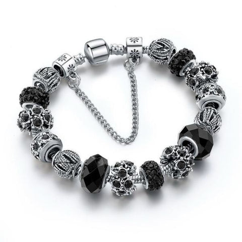 Trendy New Crystal Beads Bracelets Bangles Black Bracelet