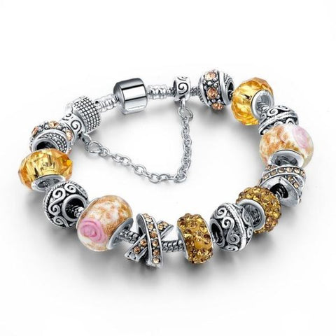 Trendy New Crystal Beads Bracelets Bangles Yellow Bracelet