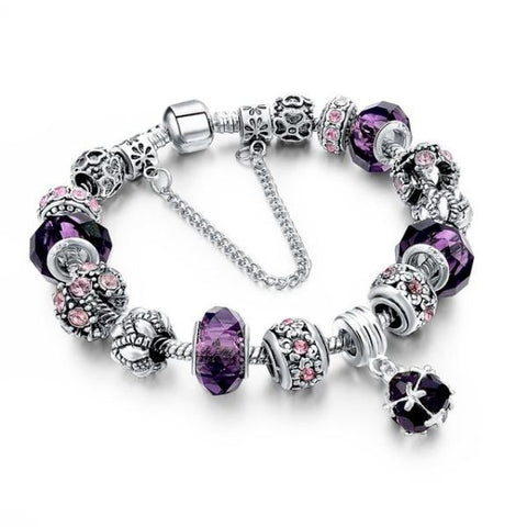 Trendy New Crystal Beads Bracelets Bangles Purple Bracelet
