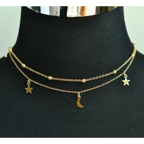 Trendy 2 Layer Star & Moon Choker Necklace Gold / 40Cm