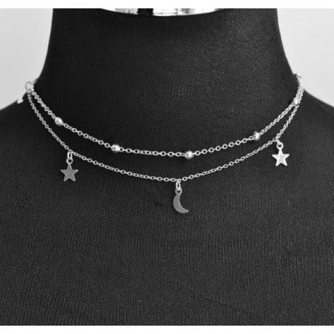 Trendy 2 Layer Star & Moon Choker Necklace Silver / 40Cm