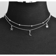 Trendy 2 Layer Star & Moon Choker Necklace