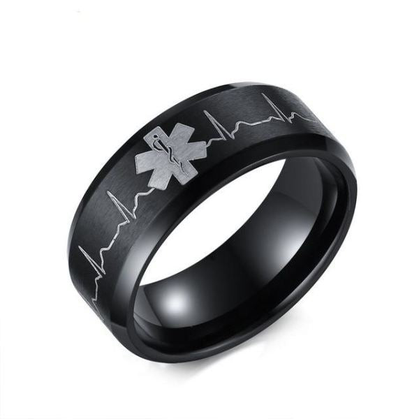 Engraved Heartbeat Stainless Steel Ring 5 / Black Ring