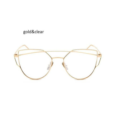 Classic Cat Eye Sunglasses Gold Clear Sunglasses