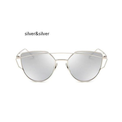 Classic Cat Eye Sunglasses Silver Sunglasses