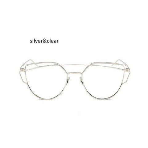 Classic Cat Eye Sunglasses Silver Clear Sunglasses