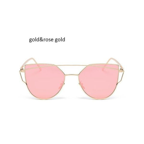 Classic Cat Eye Sunglasses Gold Pink Sunglasses