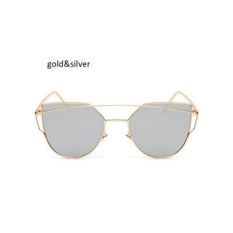 Classic Cat Eye Sunglasses Gold Silver Sunglasses