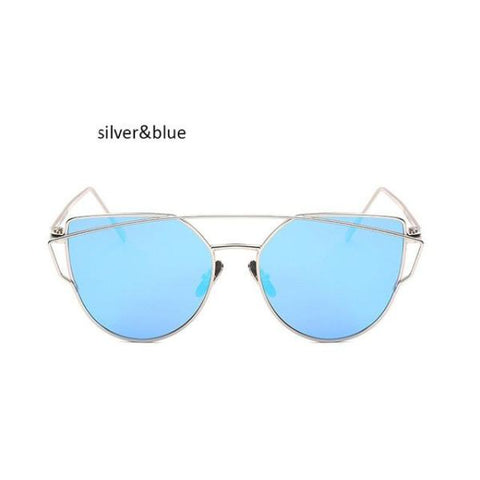 Classic Cat Eye Sunglasses Silver Blue Sunglasses