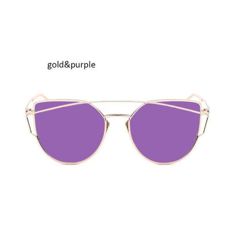 Classic Cat Eye Sunglasses Gold Purple Sunglasses
