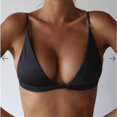 Super Hot Solid Bikini Top Black / S Bra
