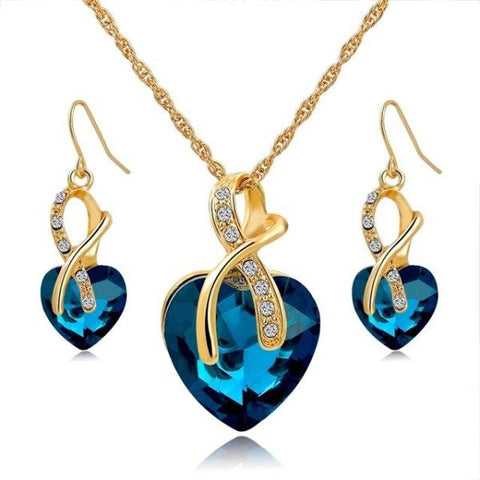 Stylish Crystal Heart Necklace And Earrings Jewelry Set Gold Blue