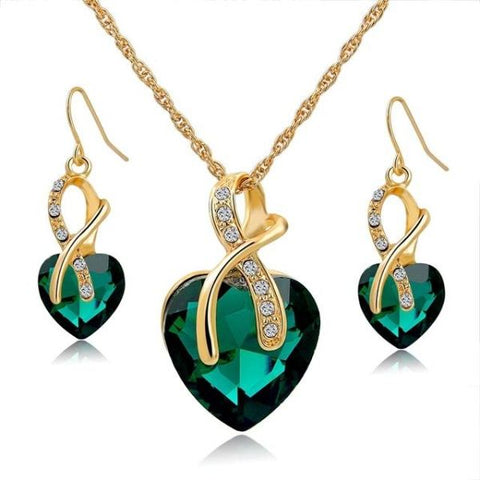 Stylish Crystal Heart Necklace And Earrings Jewelry Set Gold Green