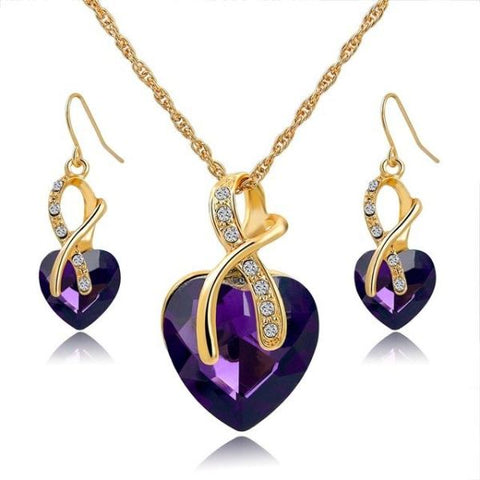 Stylish Crystal Heart Necklace And Earrings Jewelry Set Gold Purple