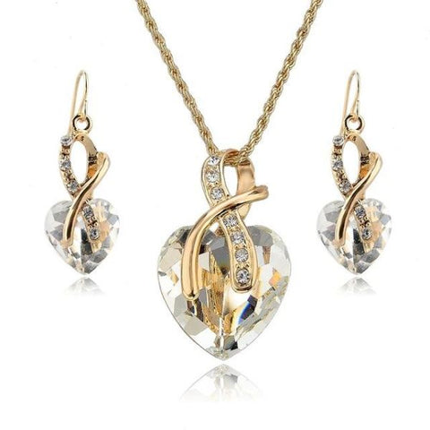 Stylish Crystal Heart Necklace And Earrings Jewelry Set Gold White