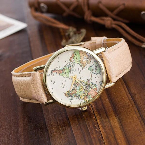 Trendy World Map Watch With Leather Strap Watch
