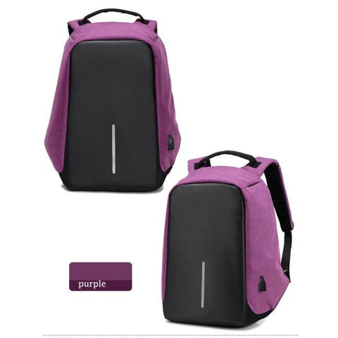 Anti Theft Usb Charging Backpack (Powerbank Required) Purple Backpack