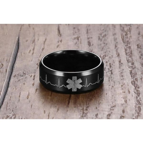 Engraved Heartbeat Stainless Steel Ring Ring