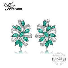 Stylish Green Created Emerald Clip On Earrings