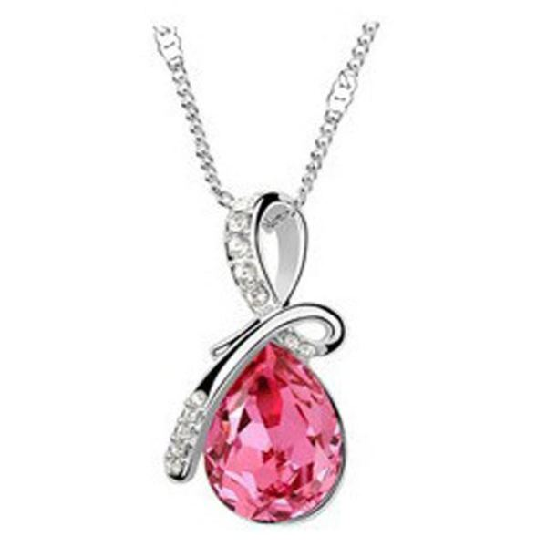 Beautiful Trendy Austrian Crystal Necklace Pendant 10 Colors Hot Pink