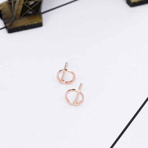 Trendy Gold Circle Stud Earrings Light Yellow Color