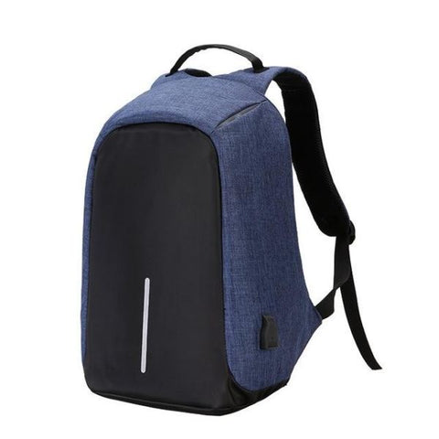 Anti Theft Usb Charging Backpack (Powerbank Required) Blue Backpack