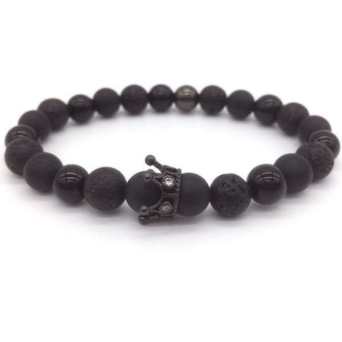 Royal Black Crown The Powerful One Micro Beaded Kings Bracelet 12 Bracelet