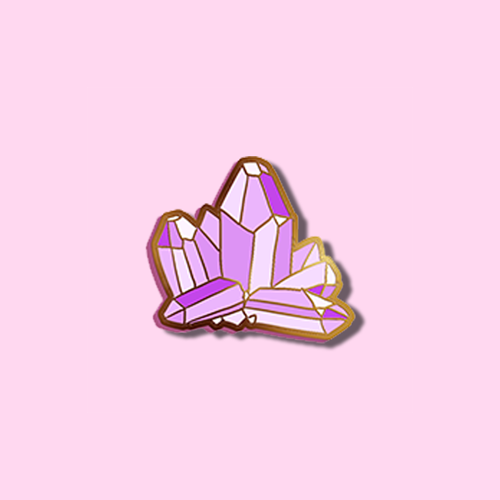 PURPLE CRYSTAL CLUSTER PIN