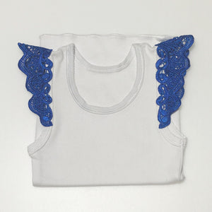 Cotton Singlet with Lace Flutter